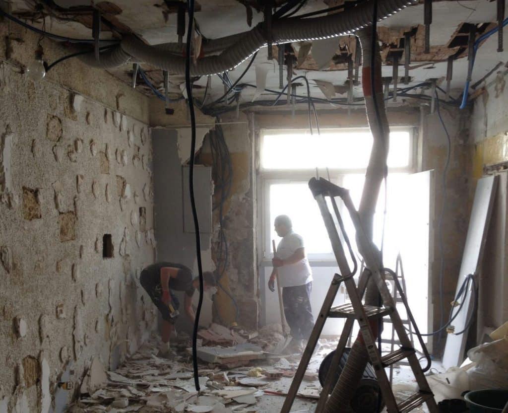 Marmorino blanc avant chantier