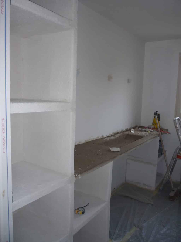 Meuble et vasque en construction